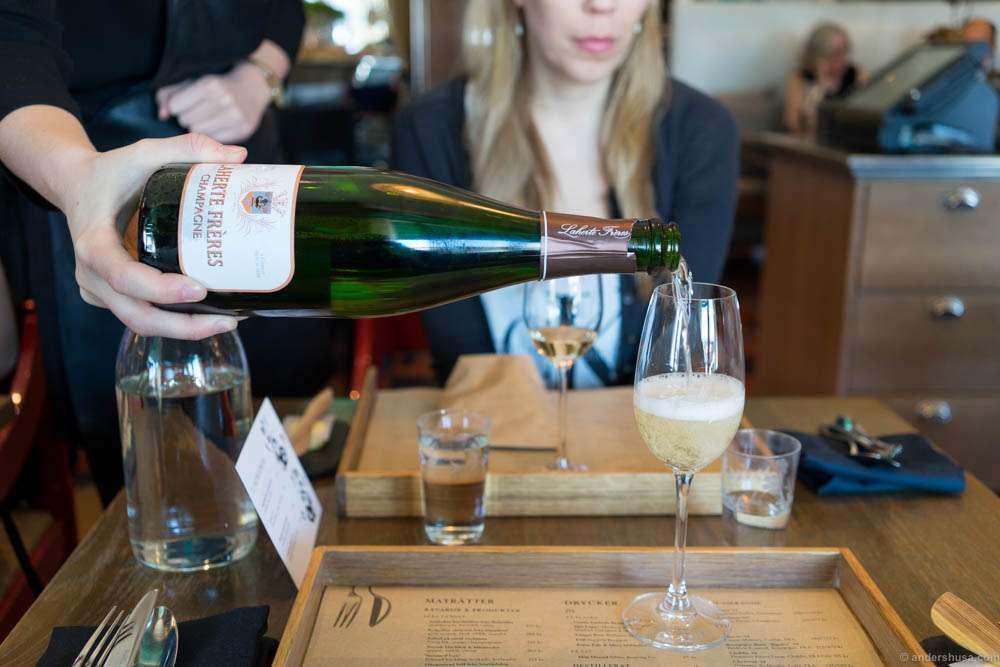 Just landed in Stockholm. Starting with some Champagne at Mathias Dahlgren – Matbaren