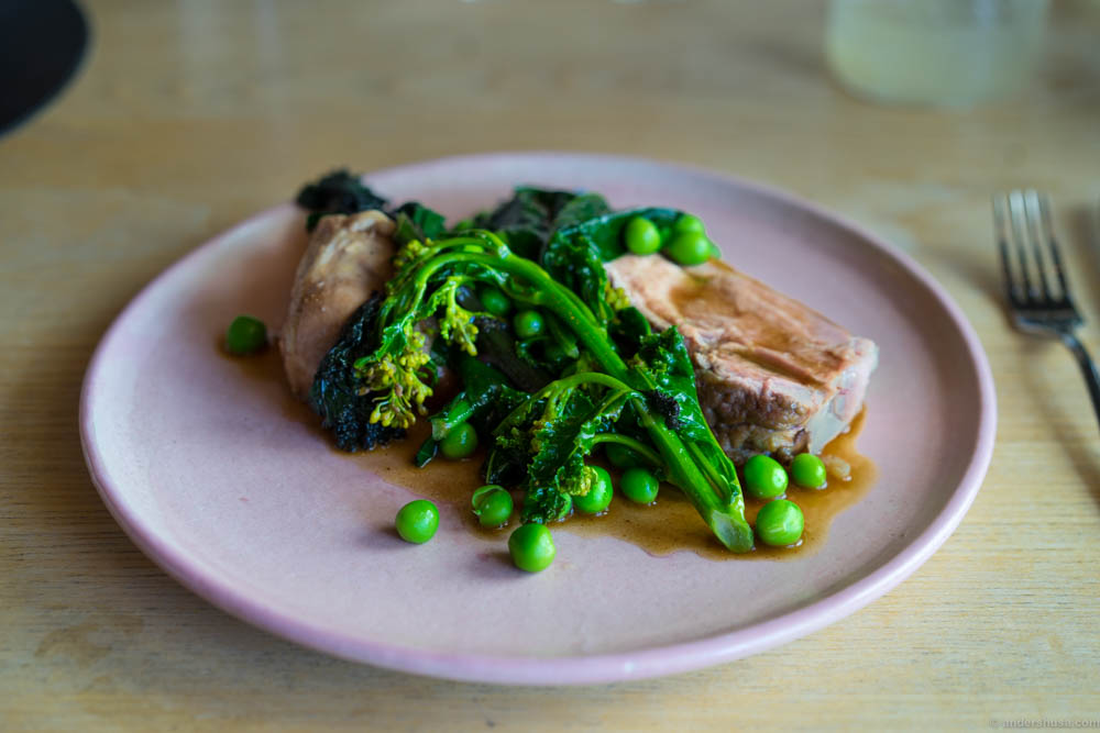 Organic lamb with kale and peas