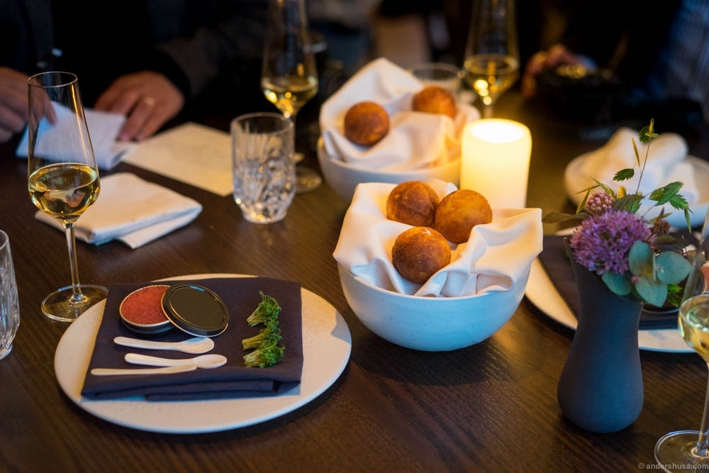 """Studio snack 4: """"Æbleskive"""" – Danish pancake puffs – served with lumpfish roe and cream"""