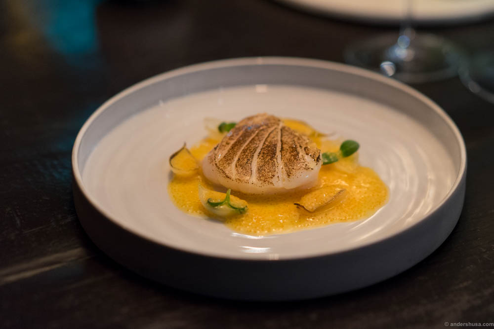 """Blackened cod, onions and a sauce of """"løyrom"""" – vendace roe"""