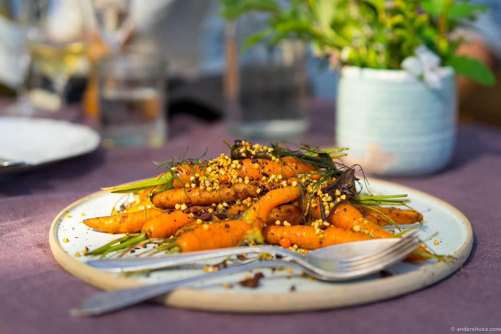 Baked carrots with cocoa nibs, fennel and seabuckthorn