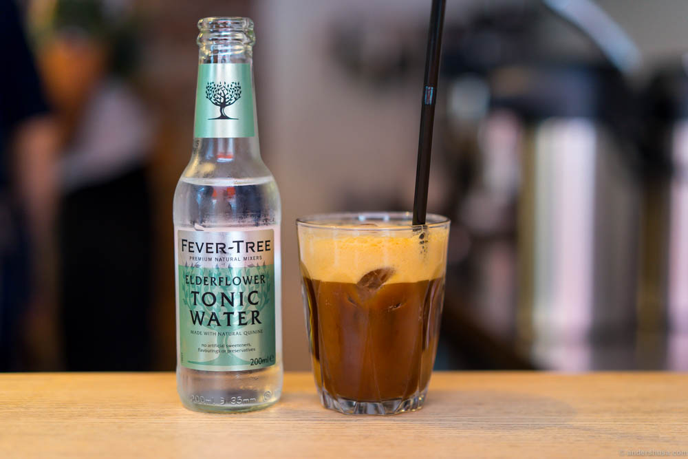 Step 5: Fill with Fever-tree elderflower tonic water to complete Supreme Roastworks' Espresso tonic