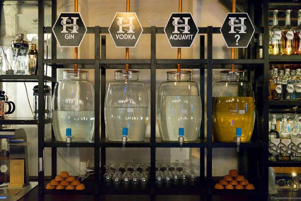 "The homemade distilled spirits: gin, vodka, aquavit and the secret ""Hapå""-aquavit."