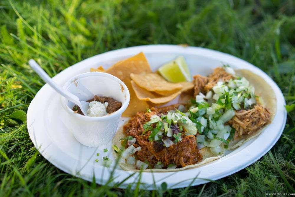 The taco platter from Taco Republica. Conchinita pibil (pork) and tinga de pollo (chicken).