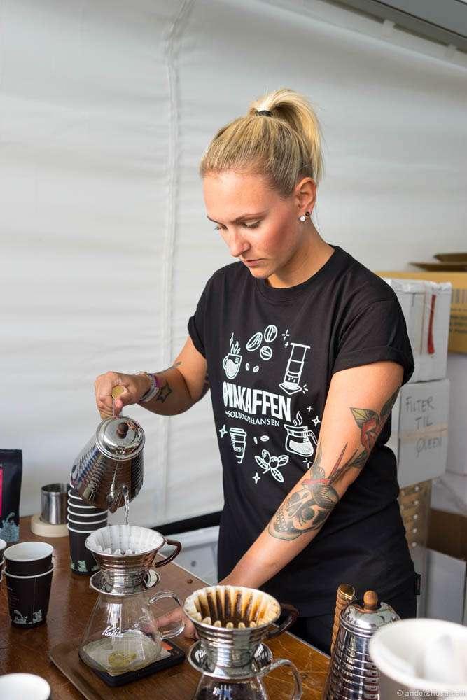 Kaya Carretta making Kalita coffee. Say that as fast as you can
