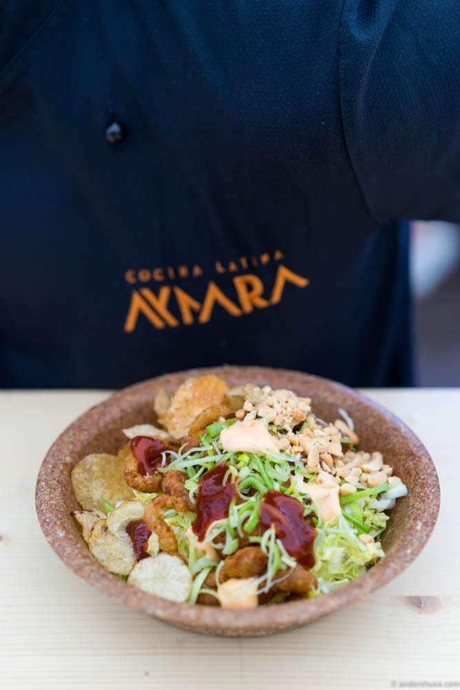 Potatoyaki with okonomiyaki sauce, Kewpie mayo, chips and peanuts from Aymara