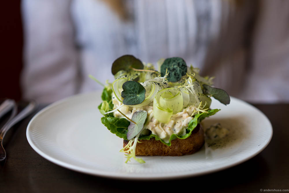 Open faced sandwich – Chicken salad with celery, apple, tarragon, and nasturtium on fried toast.