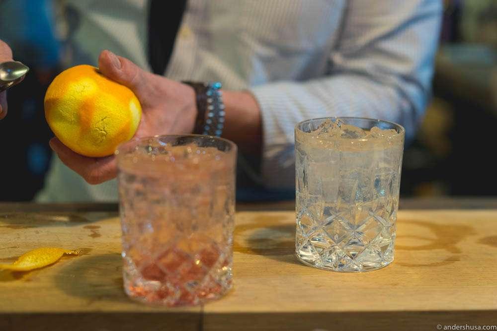 "A raspberry gin and ""Gunpowder"""