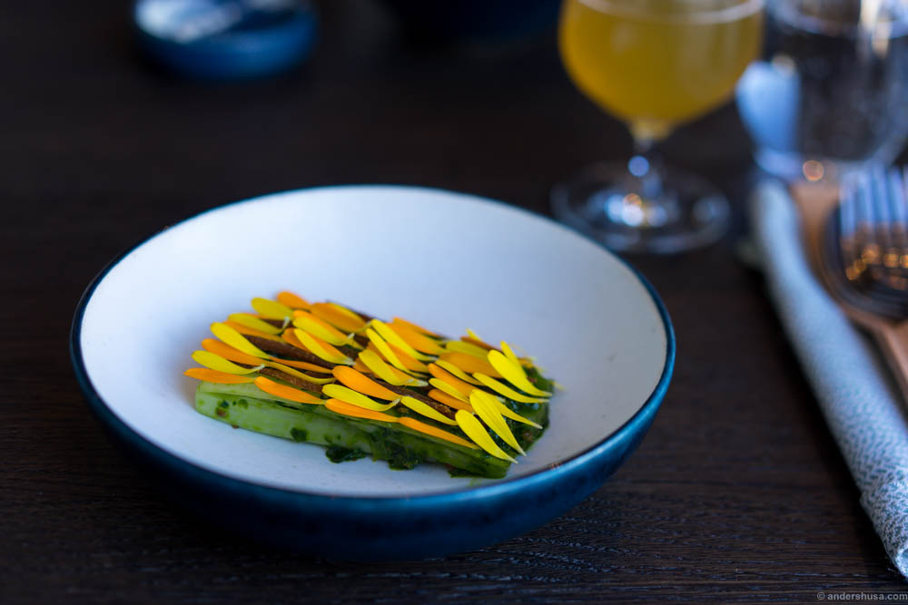 Stems of Romaine salad with aged turbot roe & marigold