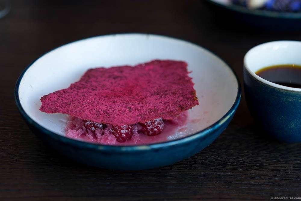 Raspberries and rose – fudge, granita and crisp