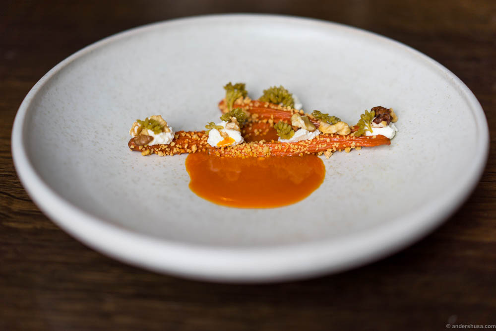 Dehydrated carrots rehydrated in their own juice, pickled orpin flowers, sour curd & concentrated carrot juice with browned butter