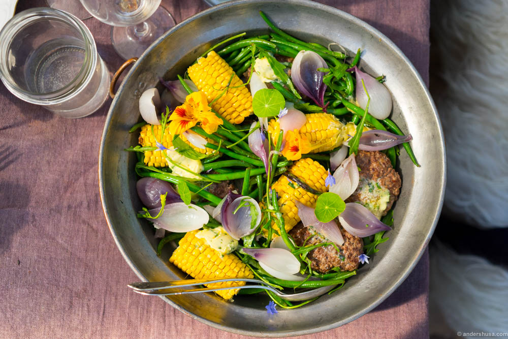 """""""Hakkebøf"""" – Danish meatballs are usually served with fried onions, potatoes and gravy, but at Stedsans you get it with summer greens, butter and corn."""