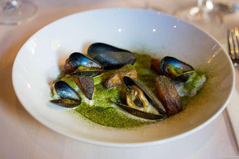 Milk-poached flounder, mussels & burnt kohlrabi