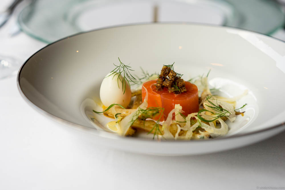 Mountain trout with quail egg, white asparagus & liquorice, rye bread and fennel