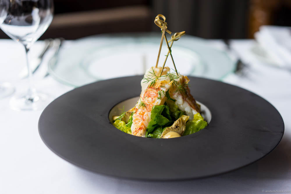 Grilled langoustine from Midsund with liquorice mayo and a salad with citrus vinaigrette