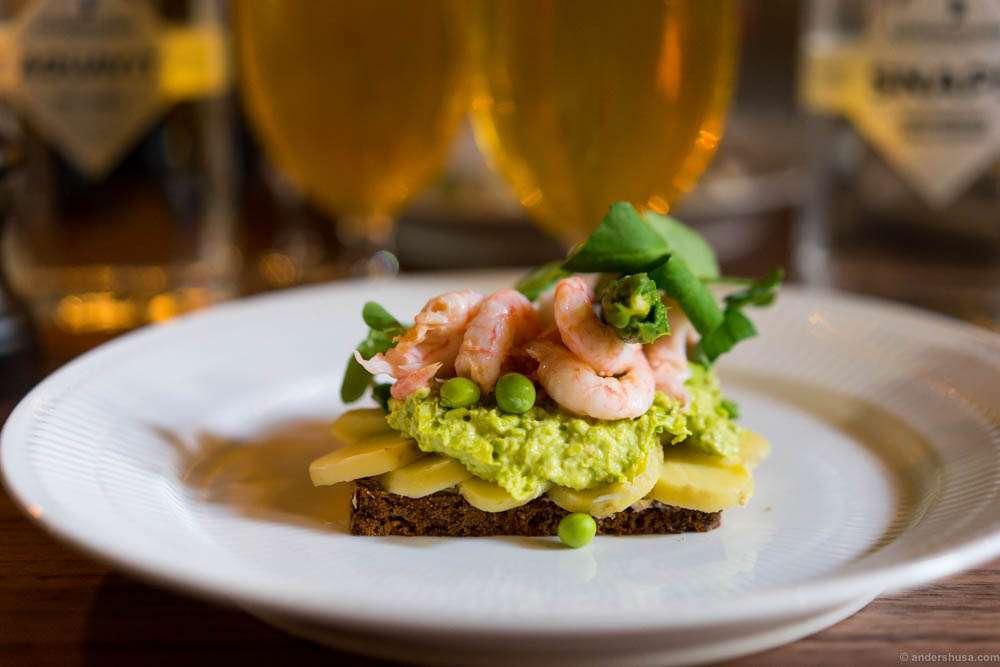 Classic Danish open faced sandwich with potatoes, shrimps, peas & asparagus