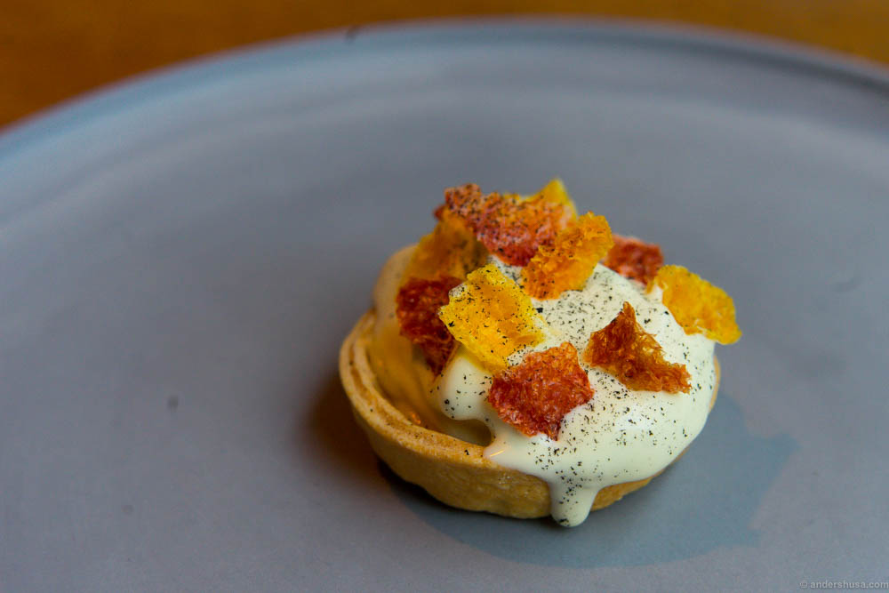 Tart with lemon curd, ice cream infused with firewood and coal and dried citrus fruits (orange, clementine, and grapefruit)