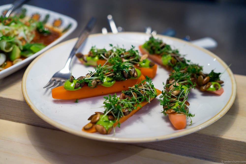 Carrots with pesto, dill mayo, roasted pumpkin seeds and cress.