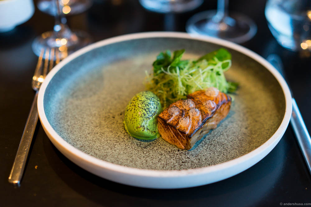 Burnt salmon with watercress ice cream