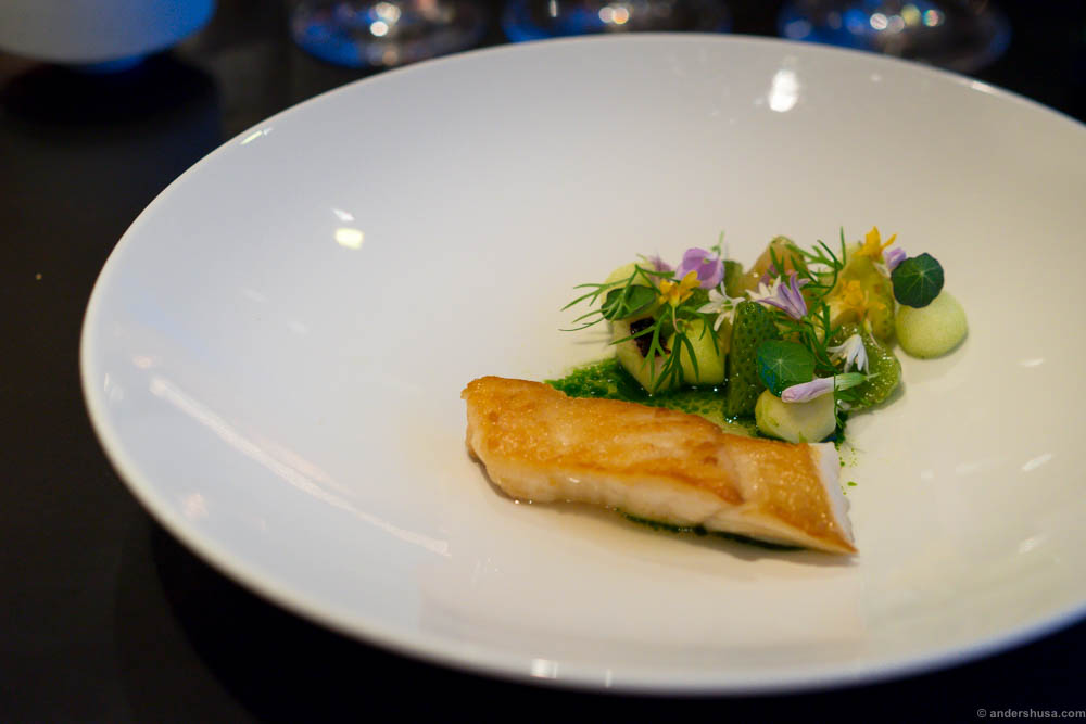 Fried turbot with green strawberries, apple and horseradish