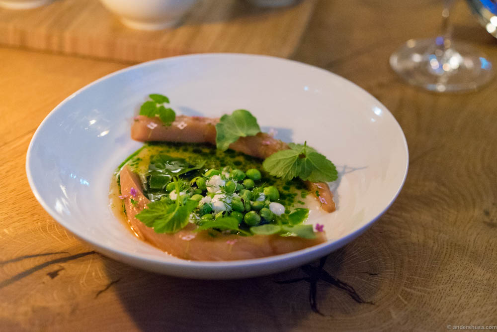 Smocked mackerel, peas, ponzu and fresh cheese