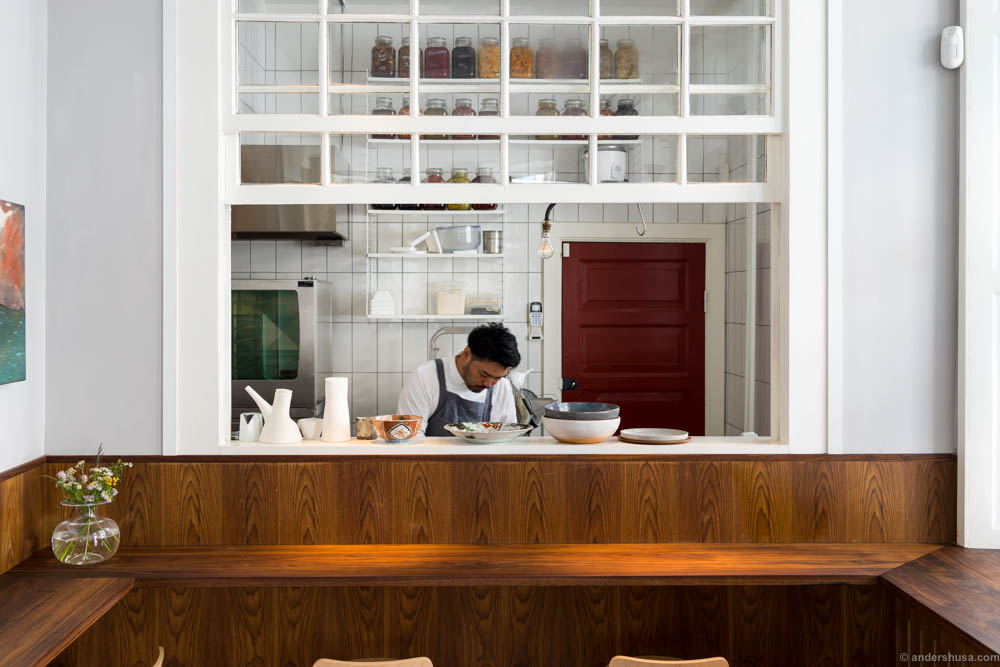 View to the kitchen and chef Genzo Miyata