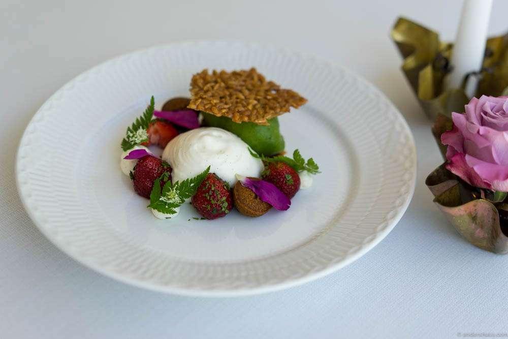 "Fresh strawberries, wrinkled sorrel sorbet ""ymer"" foam, malt cookies and caramelized sunflower seeds"