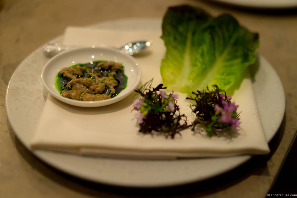 Langoustine brain and lettuce
