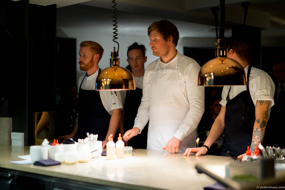 The chefs helped out as waiters in between dishes