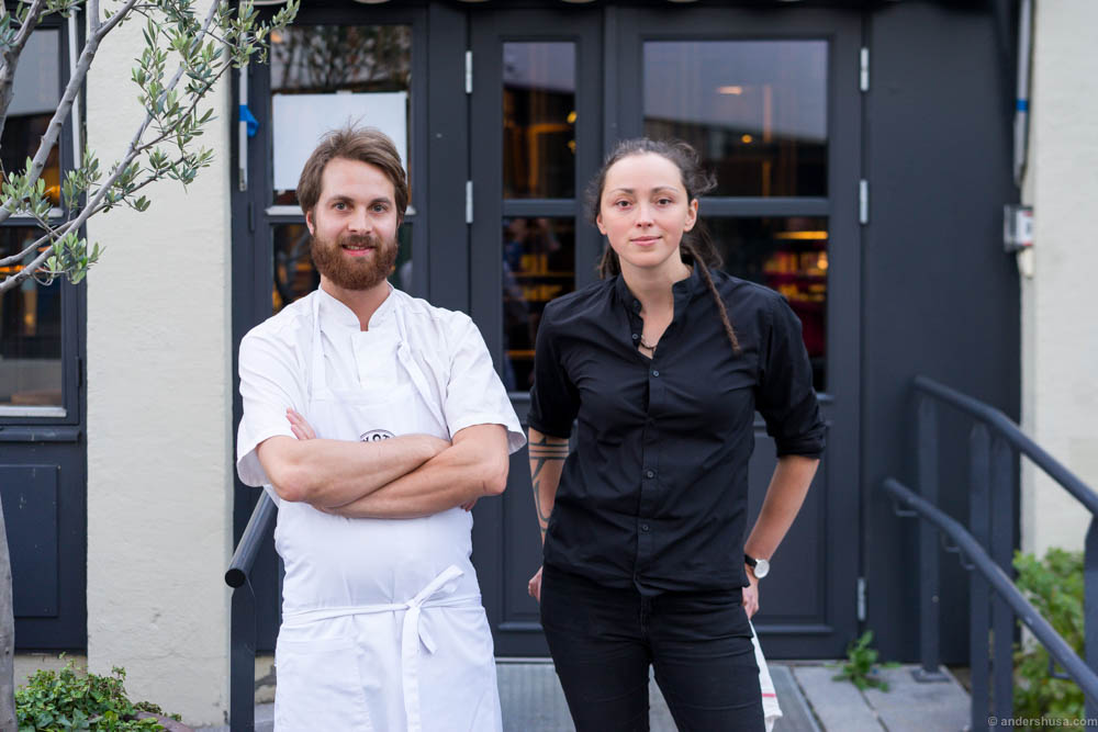Head chef Mats Vaulen and restaurant manager Jessica Senning