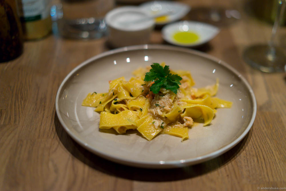 Pappardelle with king crab at Trattoria La Strega