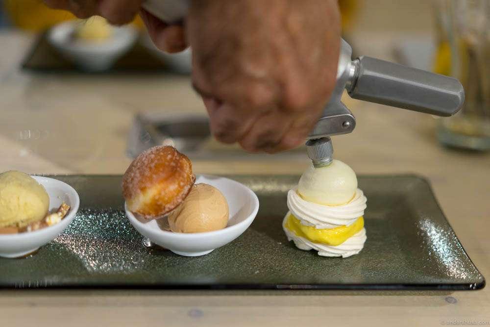 Final espuma touch to the dessert platter