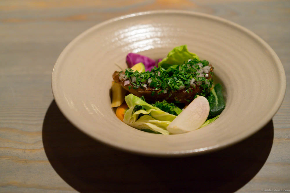 Lamb tongue according to Cajsa Warg, brined vegetables