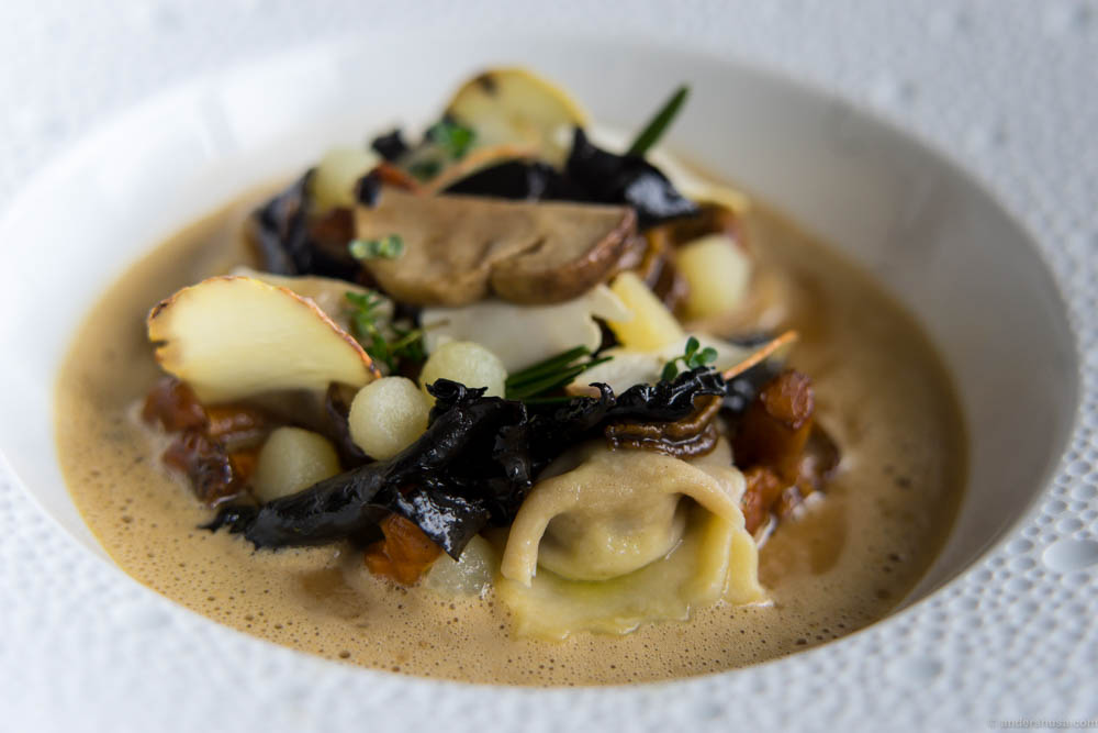 Agnolotti with Danish mushrooms, chestnuts and fermented mushroom sauce