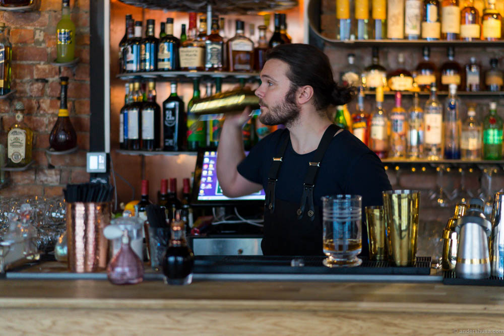 Bar manager Andreas Gullbrandsson shaking things up