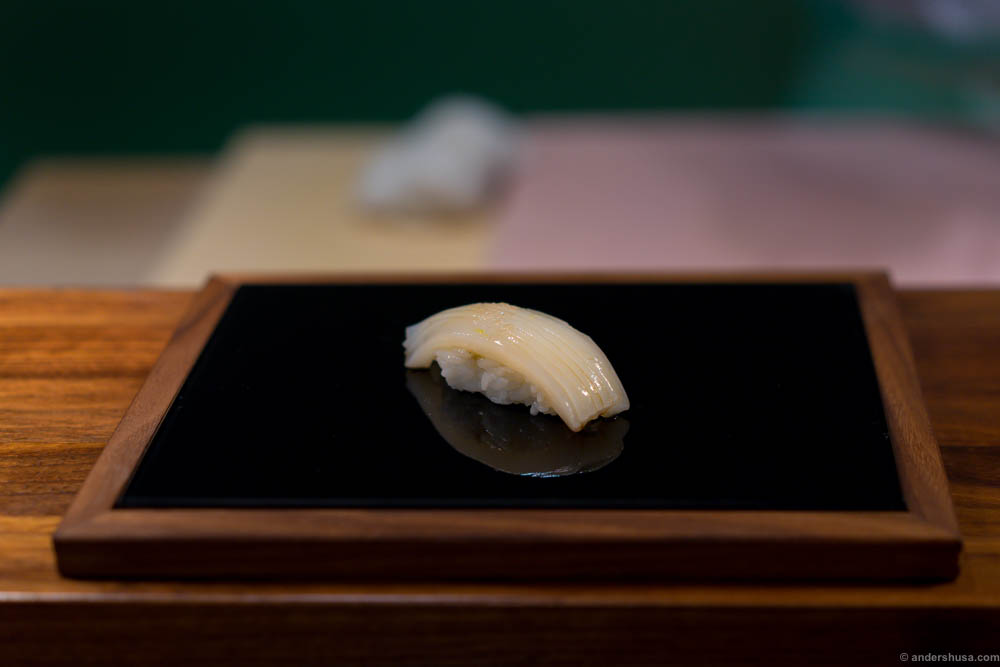 Squid with Himalaya salt and lime at restaurant Sabi Omakase in Stavanger, Norway