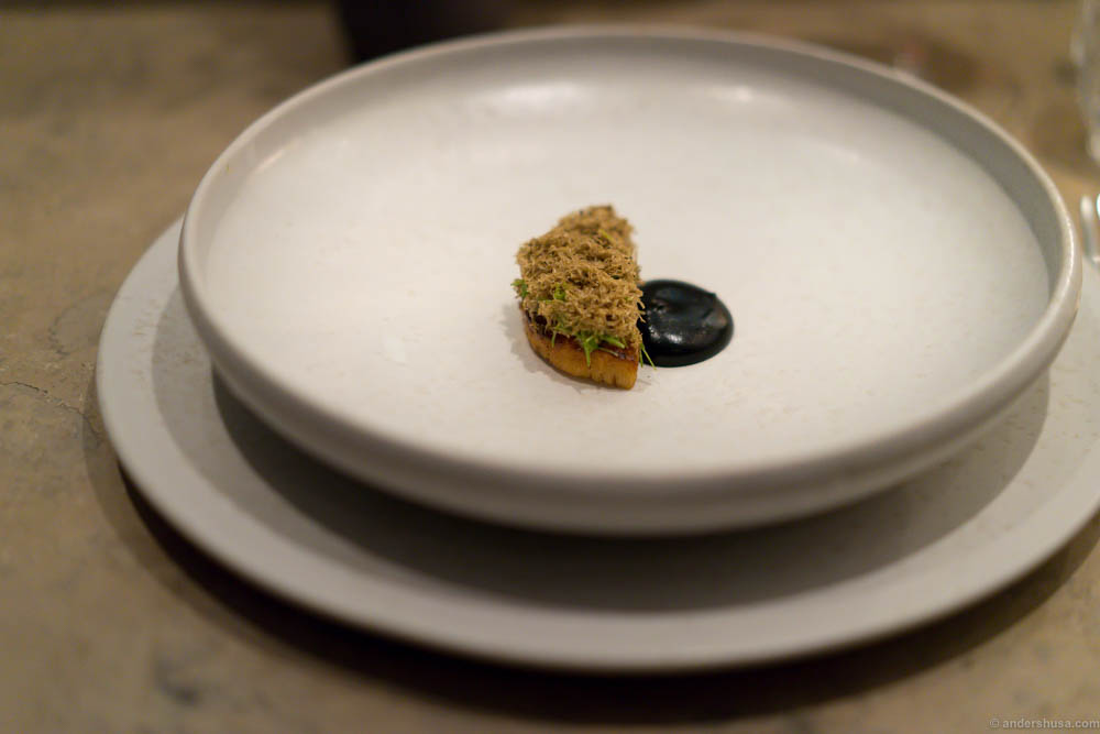 Salt baked celeriac and forest flavors at restaurant Studio in Copenhagen, Denmark