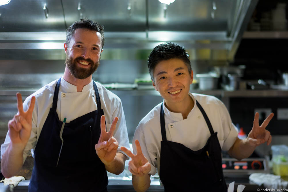 Two of the head chefs at work. Australian Kai Ward on the left and Hong Kong-born Richie Lin on the right