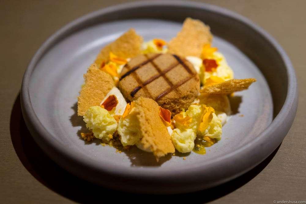 Passion fruit, grilled financier, jasmine mascarpone & honey comb
