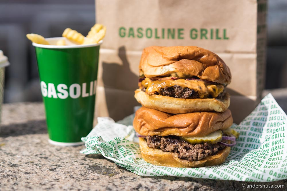 A Cheeseburger (top) and a Butter Burger (bottom) from Gasoline Grill.