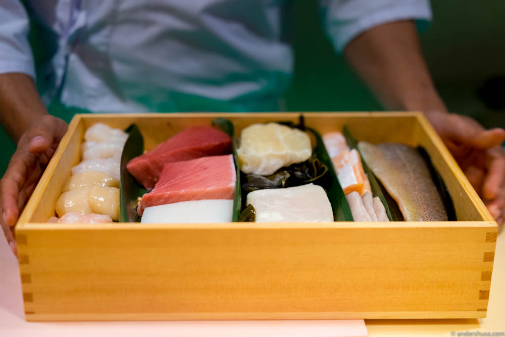 Presentation of the produce – the first step in the omakase experience.