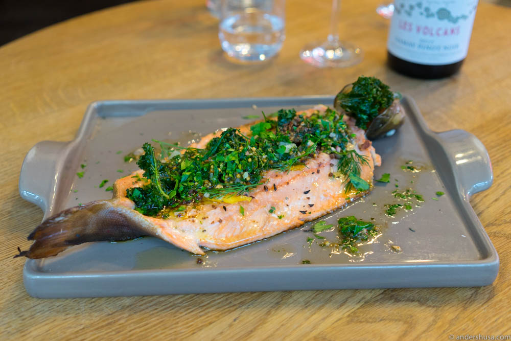 Whole trout with butter, greens & lemon peel
