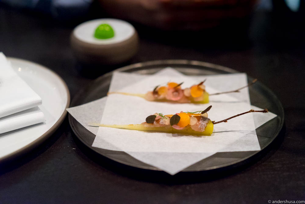 "Sweet and pickled carrot & soused herring – ""jomfrusild"" at Re-Naa"