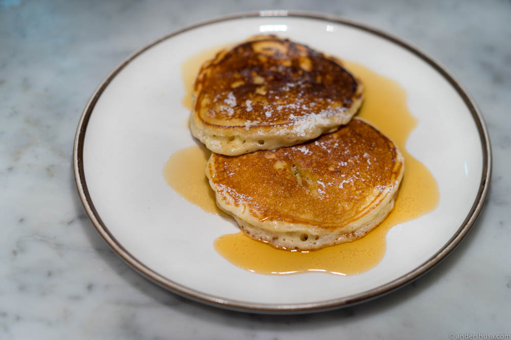 American style pancakes with maple syrup