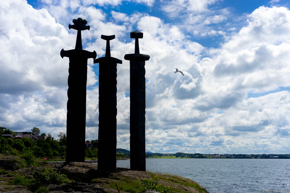 "Famous landmark in Stavanger: ""Sverd i fjell"" – Swords in Rock"