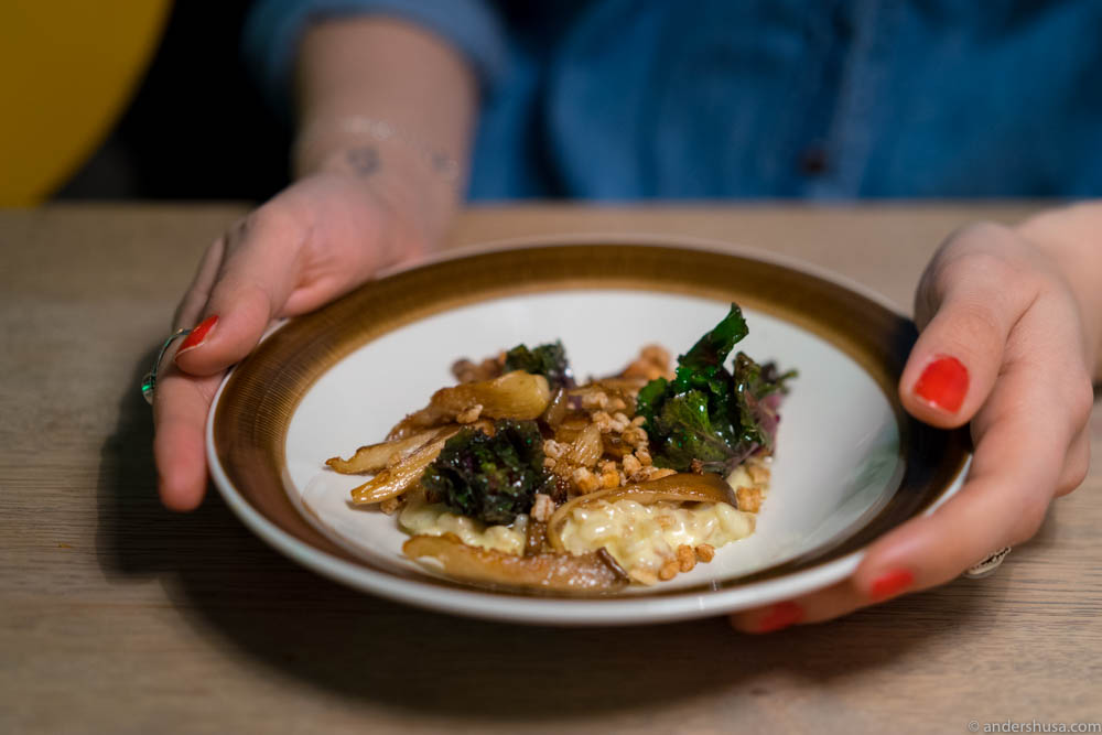 """Cooked barley in cheese sauce, """"risotto style,"""" with oyster mushrooms, flower sprout and toasted barley"""