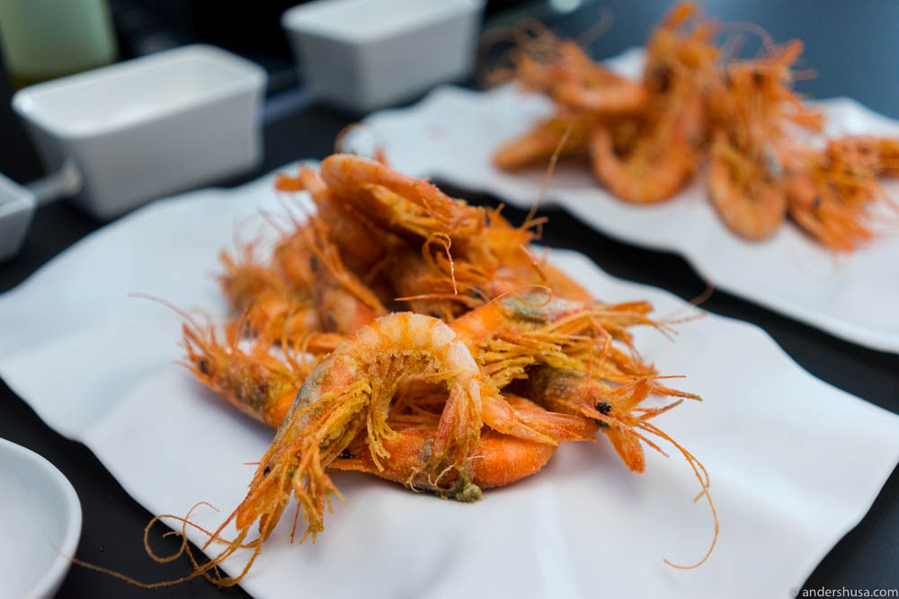 Deep fried Dénia red prawns (gamba roja)