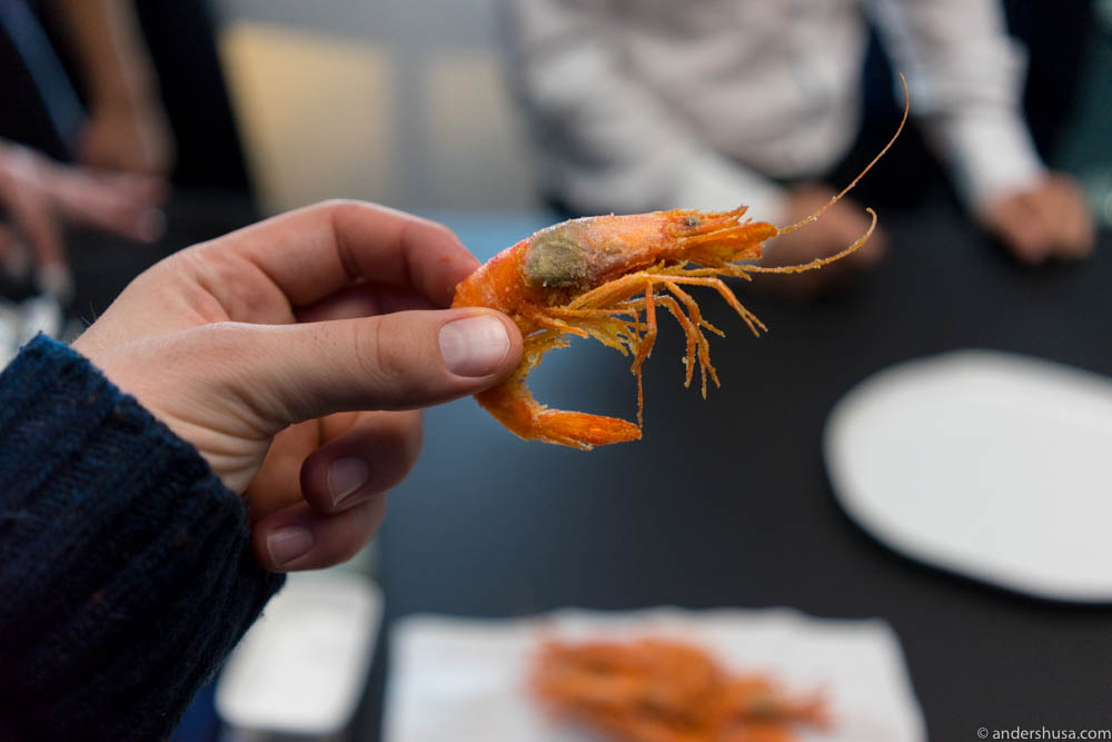 You eat the prawn with the shell, but not the head