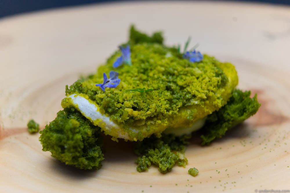 Moss on the forest floor. Green apple meringue and mousse with matcha cake, cream and pistachio crumbles.