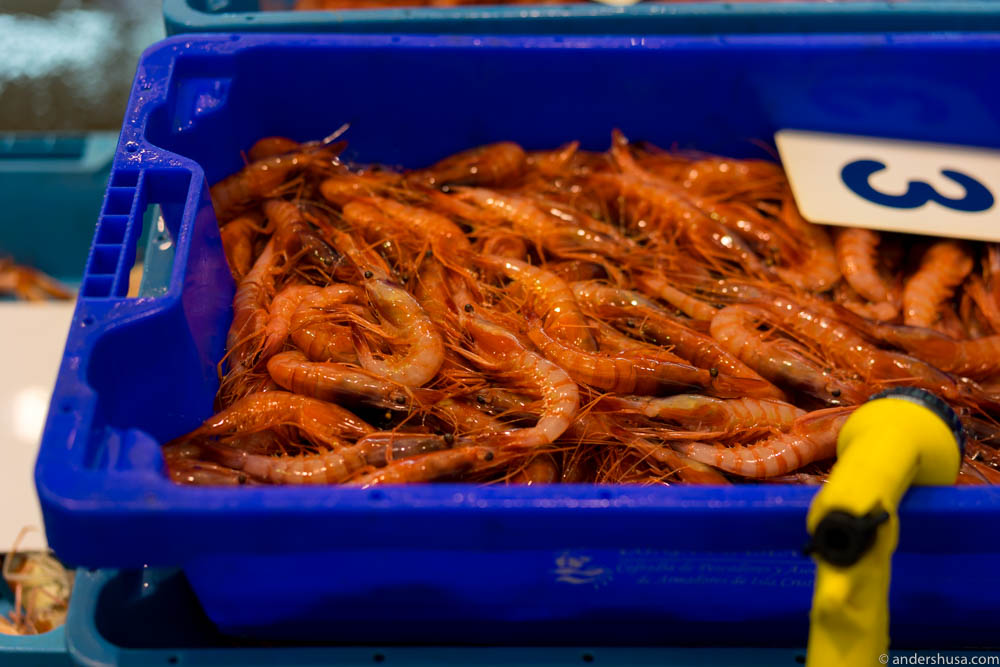 The Dénia red prawns are sorted by size. No. 1s are the biggest. These are medium sized.
